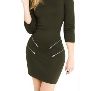 Express- Olive Green long sleeve bodycon dress